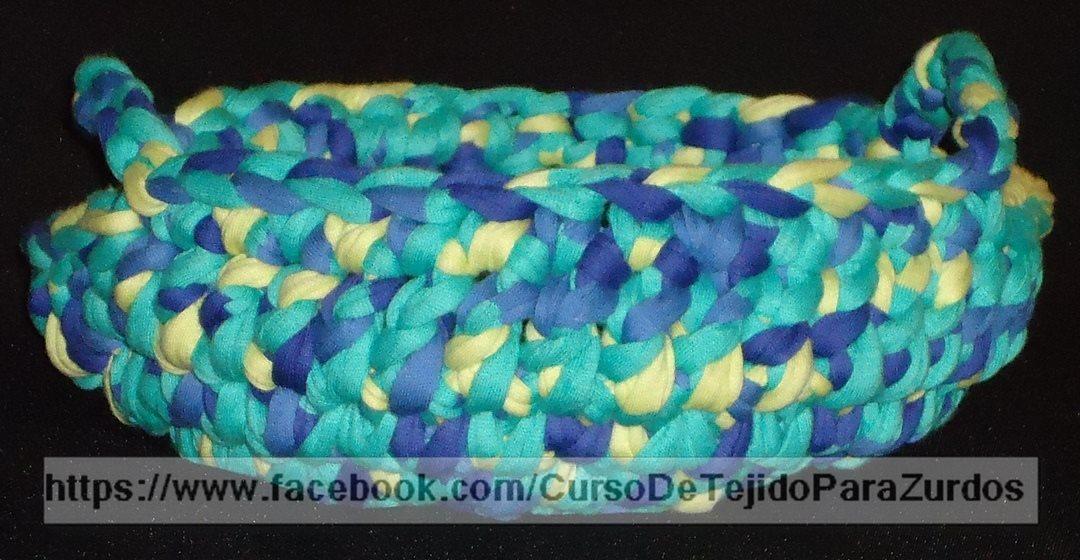 cuenco de totora tejido al crochet ganchillo para zurdos