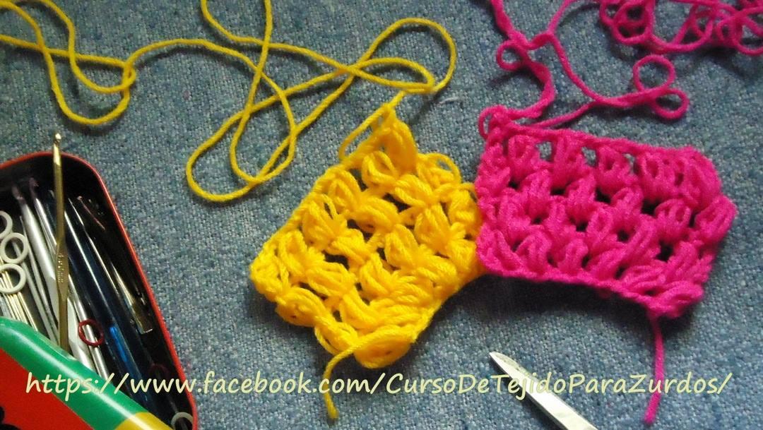 punto ananá puff stitch tejido al crochet ganchillo para zurdos