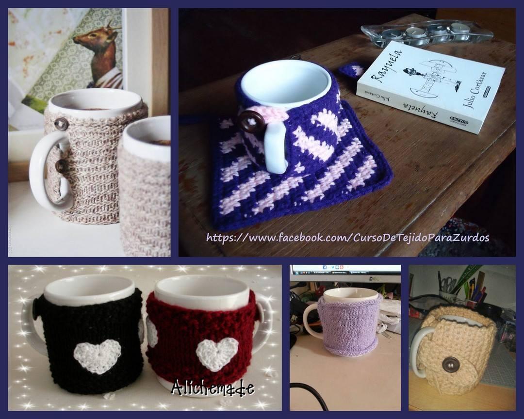 cubretazas tejidos al crochet ganchillo para zurdos
