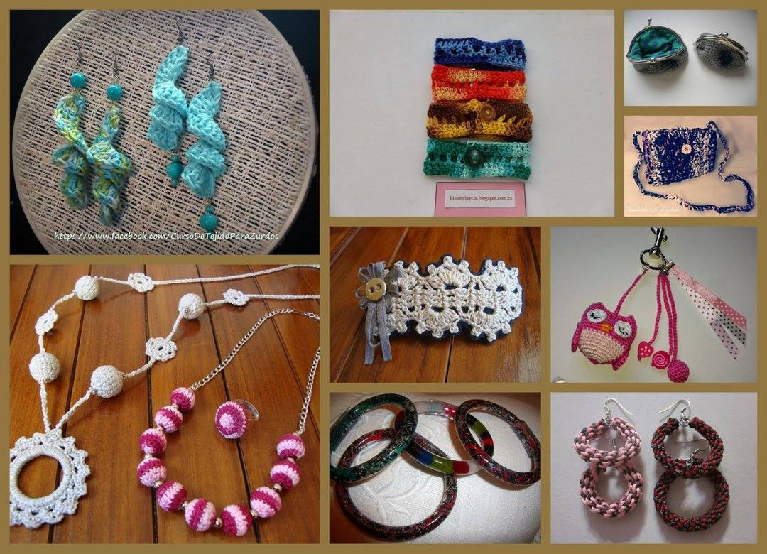 accesorios artesanales tejidos al crochet ganchillo para zurdos