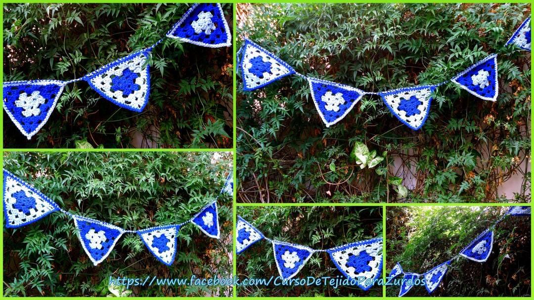 banderines tejidos al crochet ganchillo para zurdos