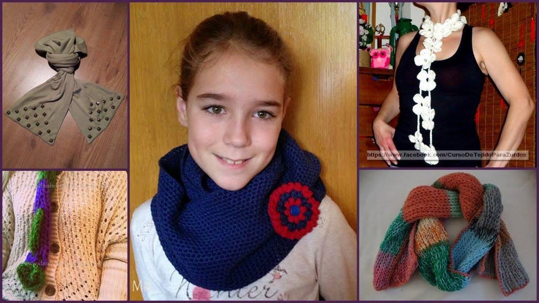 bufandas con diferentes materiales tejidas al crochet ganchillo para zurdos