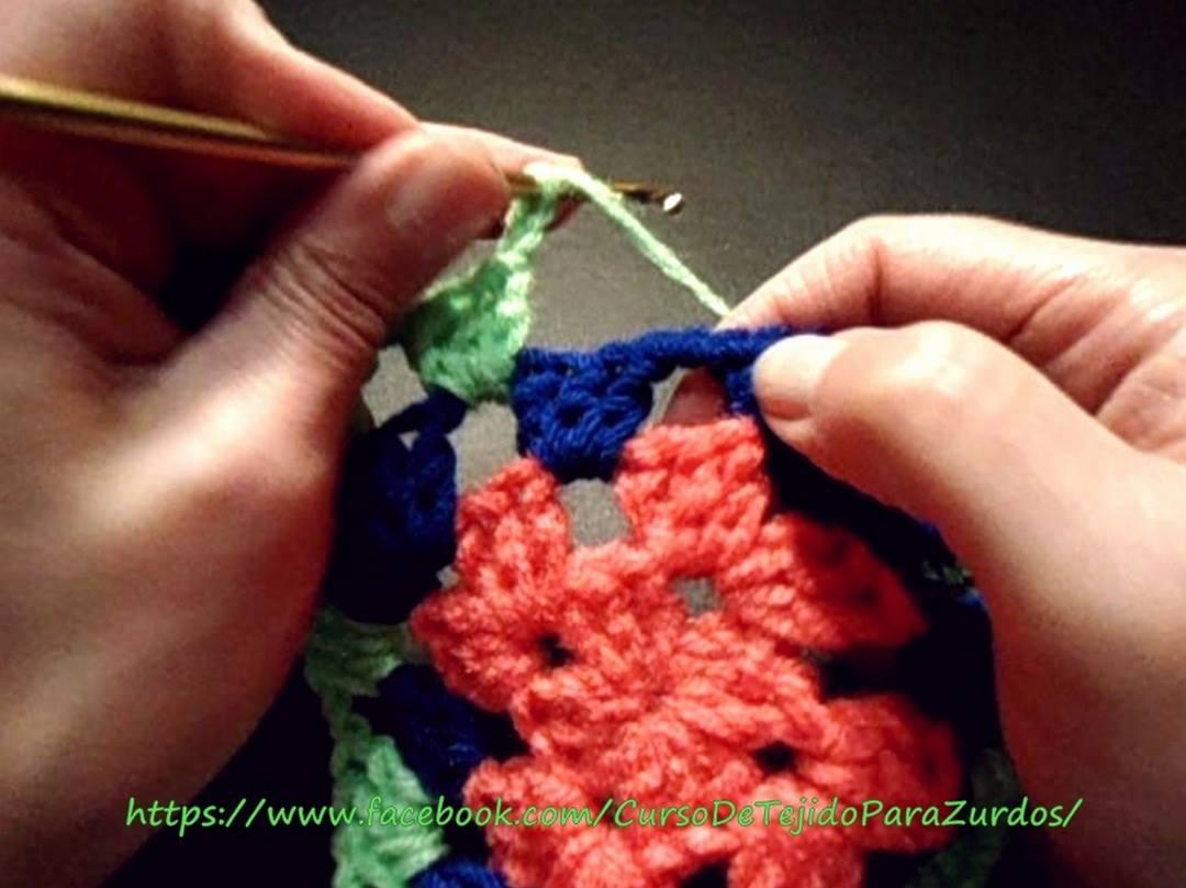 cambio de hebra o color en tejido al crochet ganchillo para zurdos