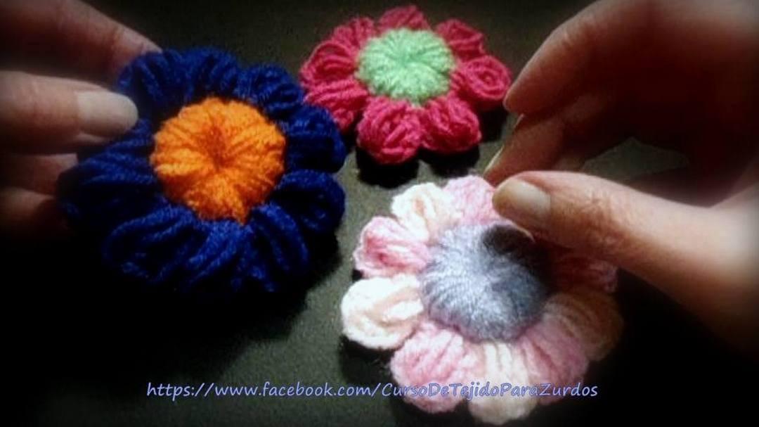 flores puff stitch tejidas al crochet ganchillo para zurdos