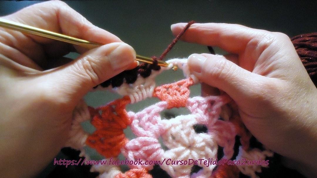 terminación tejida al ganchillo crochet para zurdos