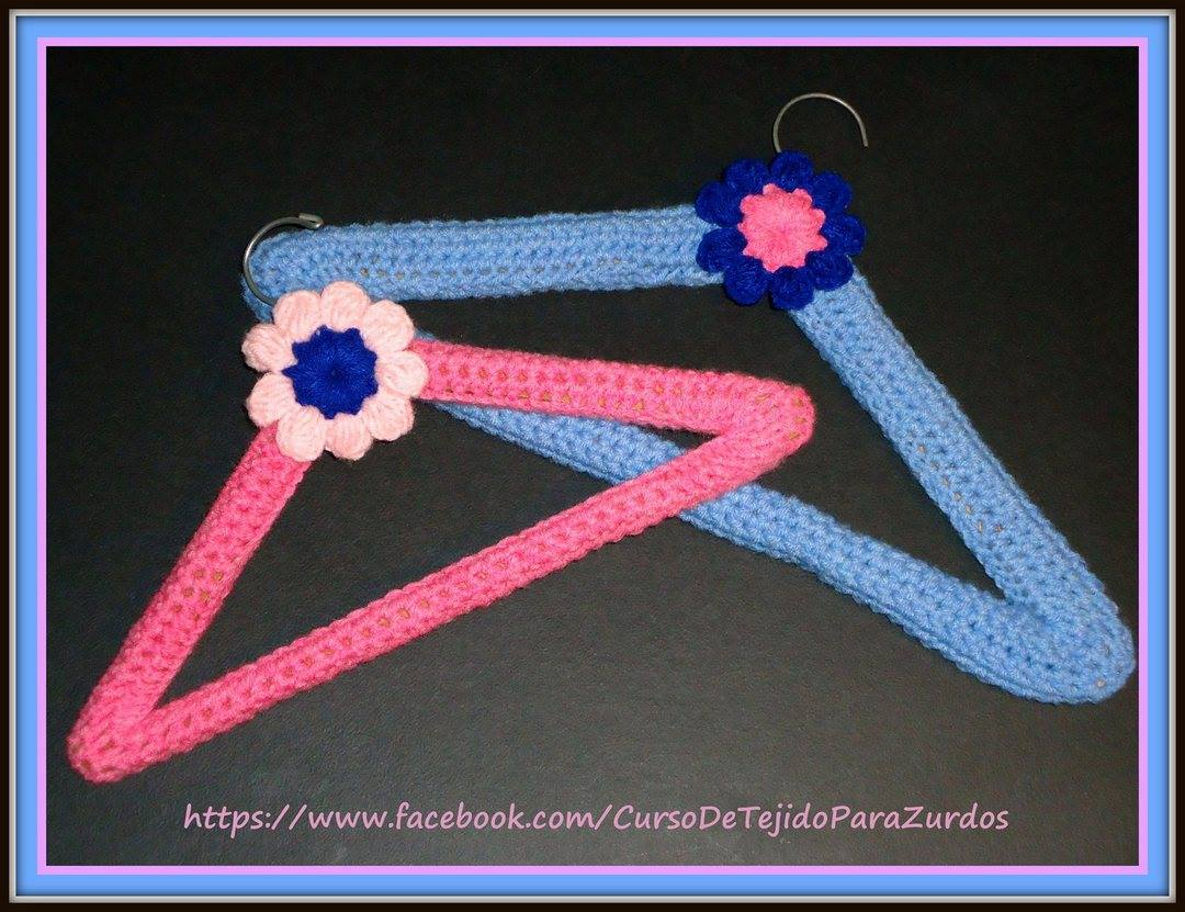 perchas forradas con tejido al crochet ganchillo para zurdos