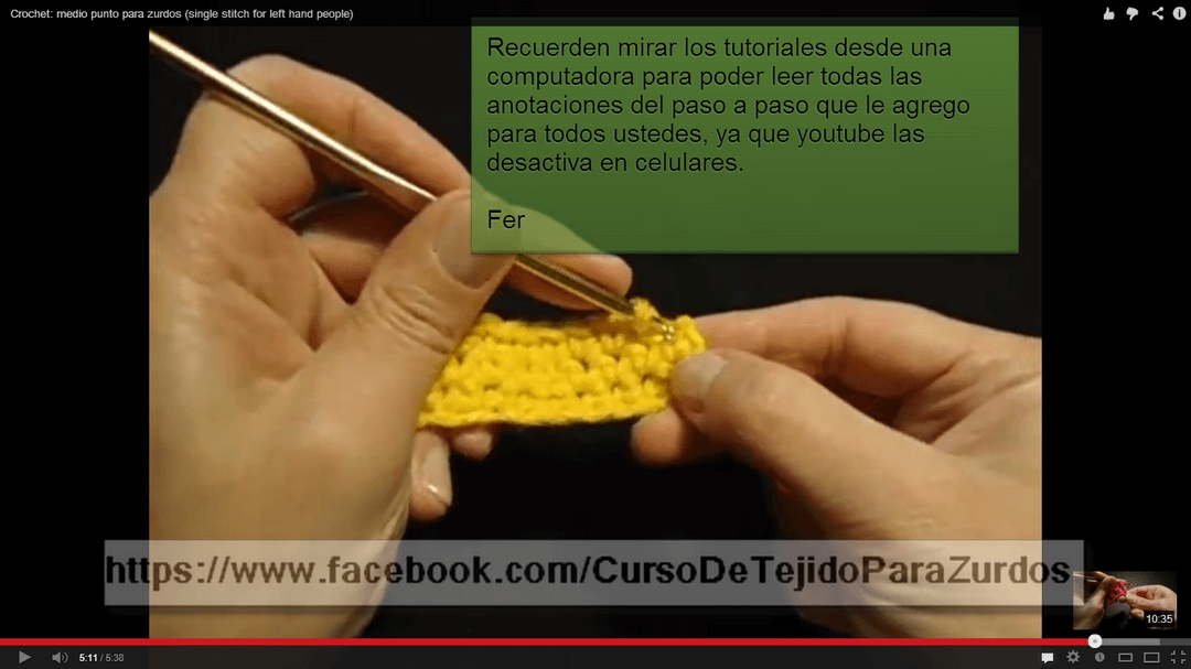 video-tutoriales de tejido al crochet ganchillo para zurdos